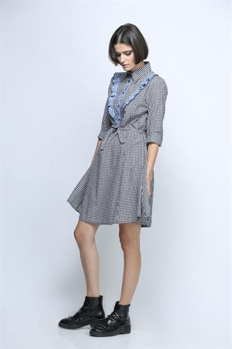 שמלת אנגלינה משובץ שחור כחול