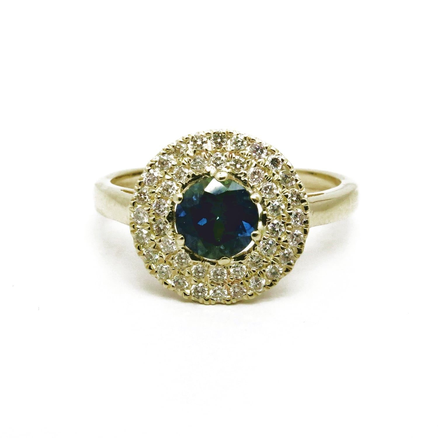 טבעת זהב 14K משובצת אבן ספיר ויהלומים 1.58 קראט