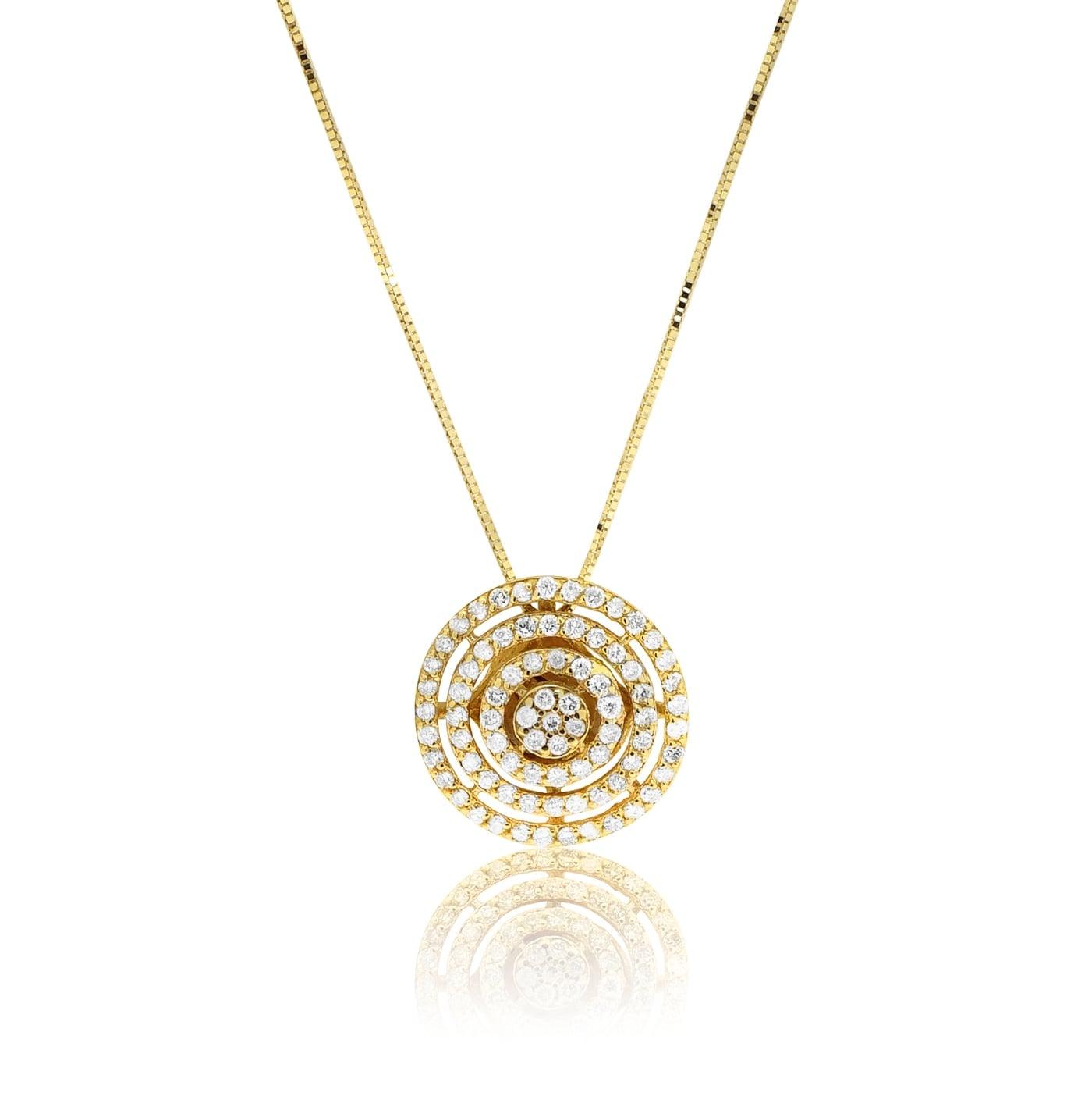 שרשרת מעגלי אינסוף נוצצת משובצת יהלומים 0.75 קראט בזהב 14 קרט