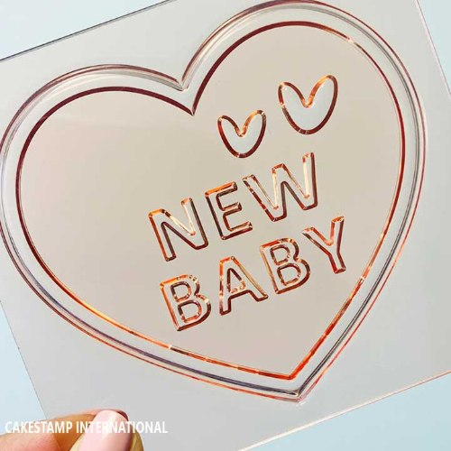 NEW BABY HEART Cake Topper  Mold | Flexible Polymer Mold | Chocolate Mold