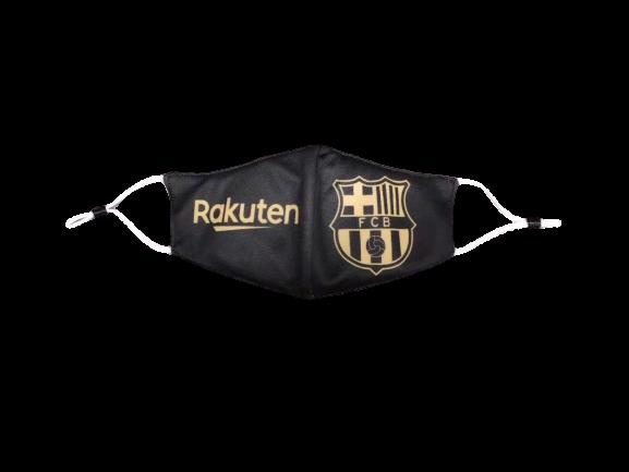 מסכת פנים מעוצבת  ברצלונה שחורה עם גולד