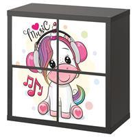 4 יח' טפט להדבקה על דלת כוורת (KALLAX)- חד קרן מוזיקה