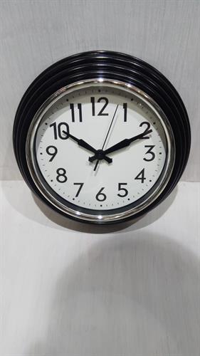 שעון קיר שחור מסגרת כסופה 1239-4
