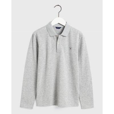 חולצת פולו גאנט ארוכה אפורה