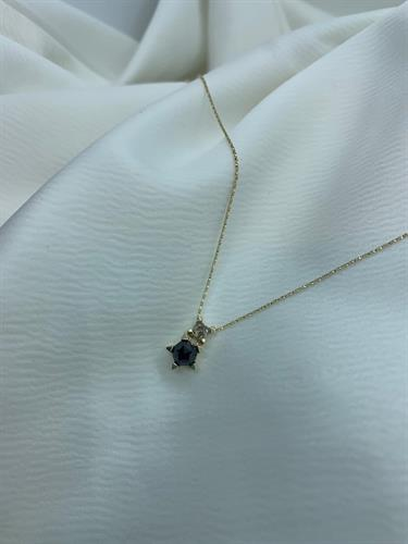 שרשרת יהלום מחומש זהב 14 קראט