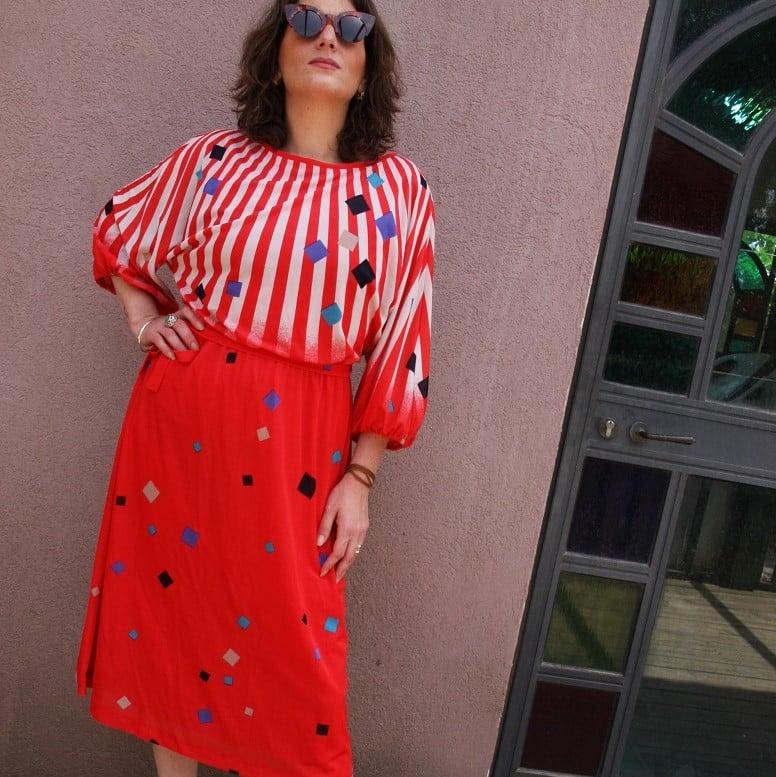 שמלה מגניבה שנות ה-80 מידה L/XL
