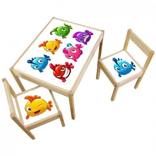 3 יח' טפט דביק מותאם לשולחן וכסאות (LATT)- דגים צבעונים