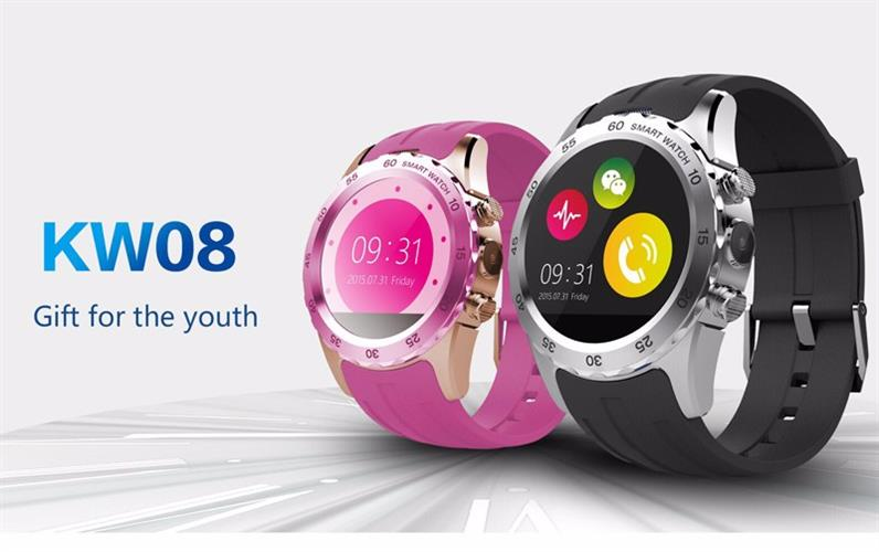 """שעון סמארט עמיד במים SmartWatch KW08 bluetooth תומך כרטיס סים מסך 1.22"""" IPS HD"""