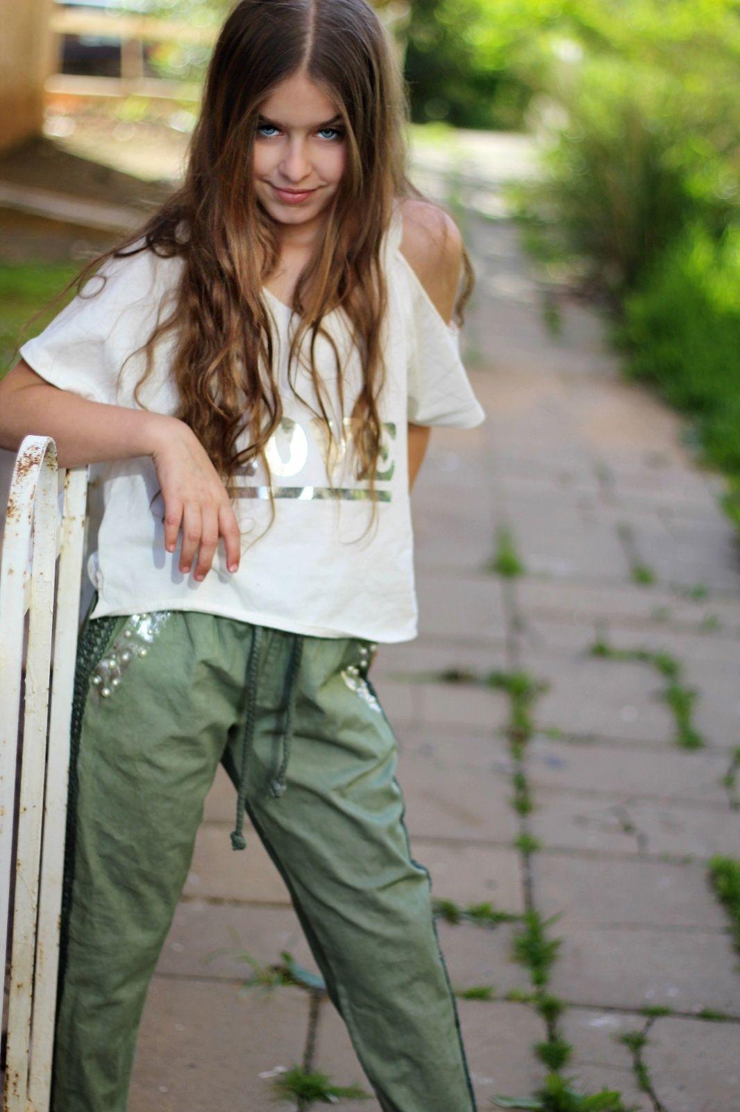 מכנס ווש עם דפוס ופנינים