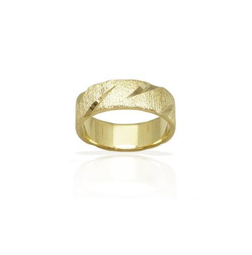 טבעת נישואין מעוצבת מחוספס ומבריק- דגם M154