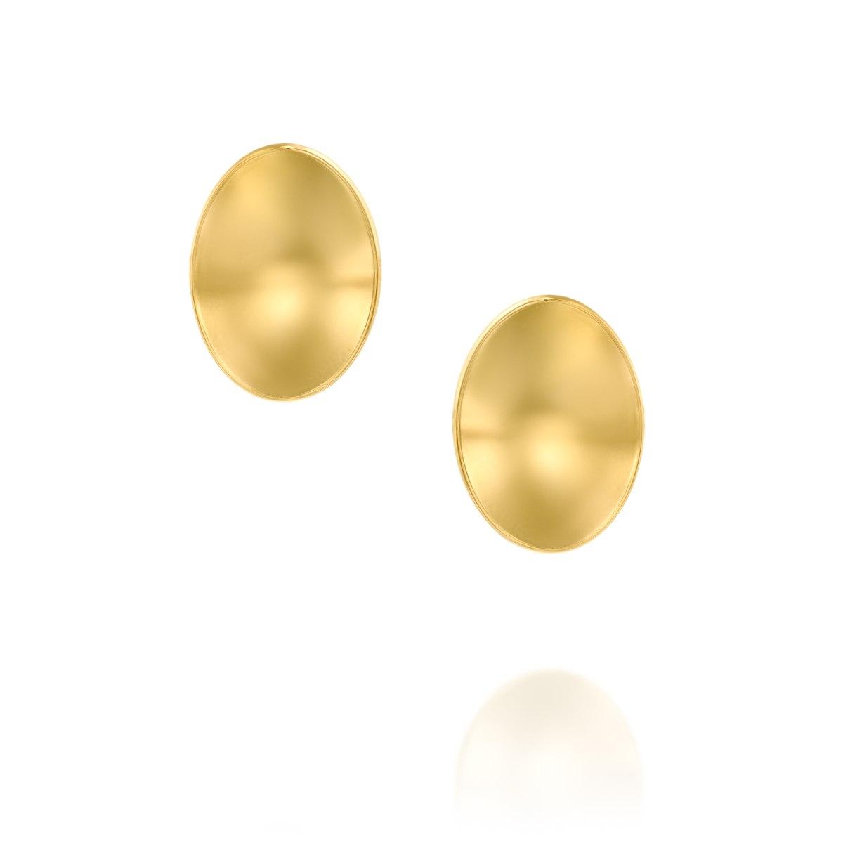 עגיל צמוד זהב 14 קרט  אליפסה קעורה נועה טריפ noa tripp
