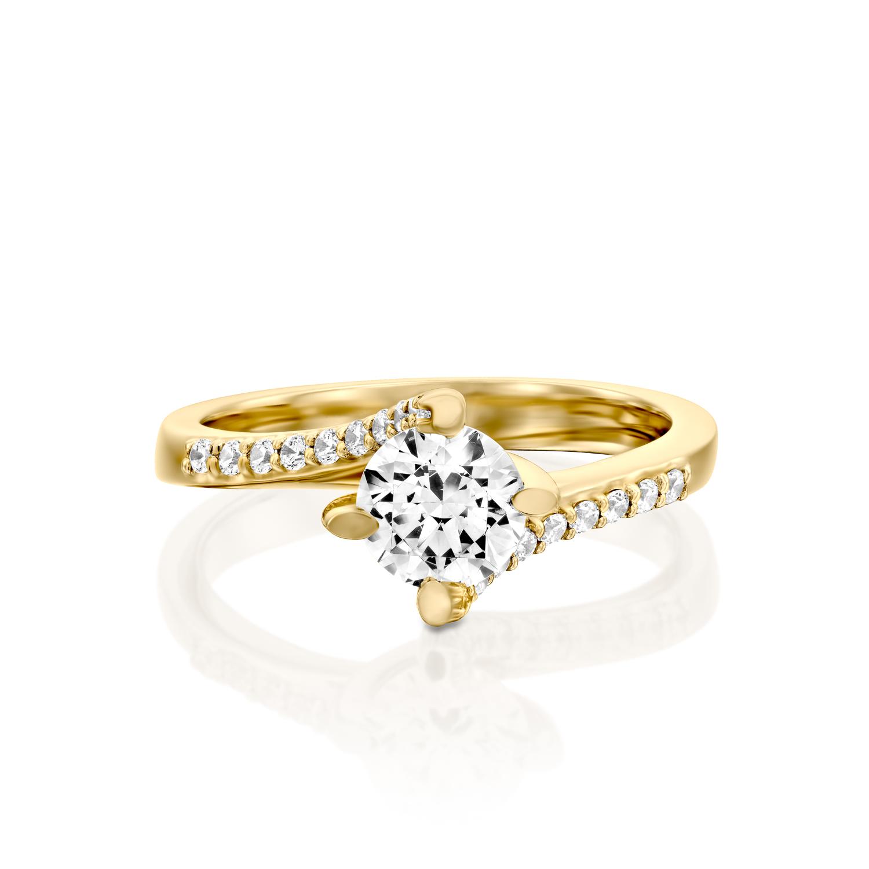 טבעת אירוסין זהב צהוב 14 קראט משובצת יהלומים TWISTER