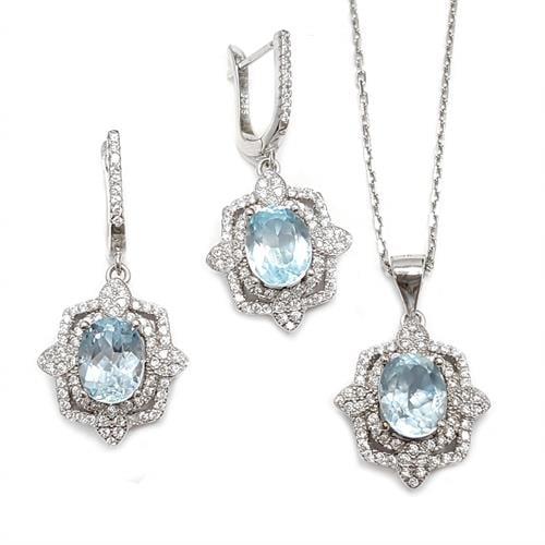 סט עגילים ותליון מכסף משובצים אבני טופז כחולה וזרקונים S1538   תכשיטי כסף 925   תכשיטים לאירועים