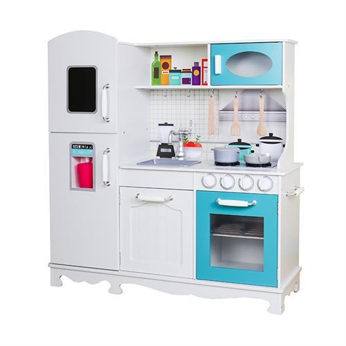 מטבח עץ לילדים לבן וטורקיז דגם אביתר W10C466C