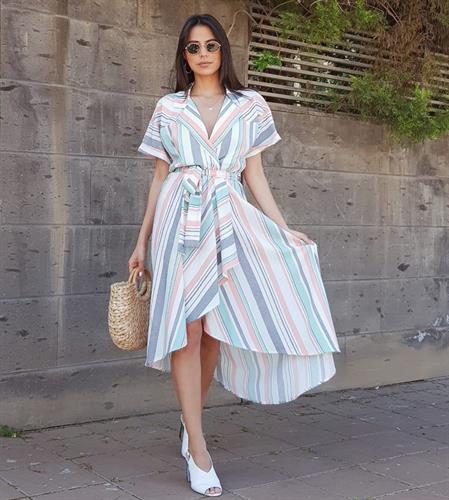 שמלת וולאן פסים - גוון אפרסק מנטה