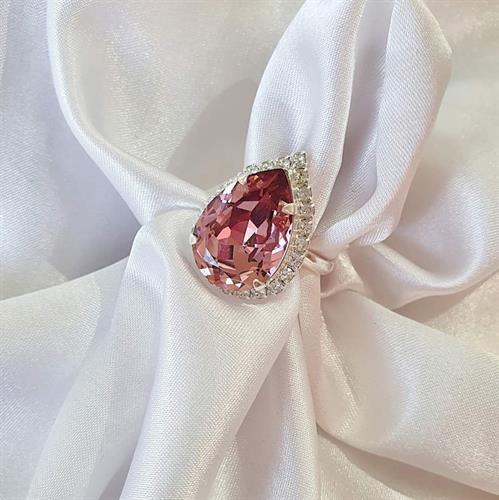 טבעת טיפה סברובסקי -  ורוד סגול כסף