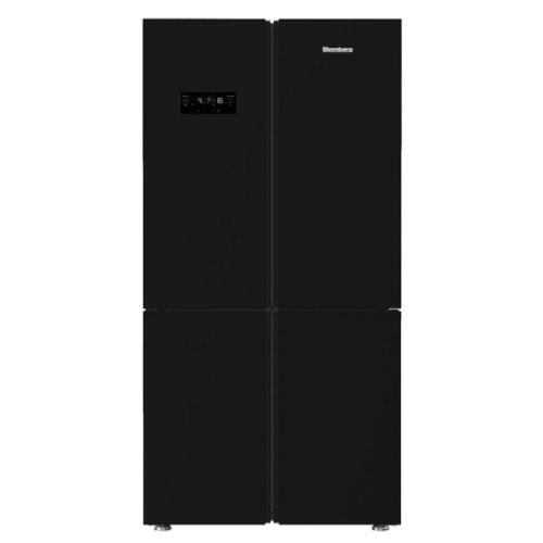 מקרר 4 דלתות מקפיא תחתון נפח 535 ליטר ICE MAKER גימור זכוכית שחורה תוצרת Blomberg דגם KQD1621GB