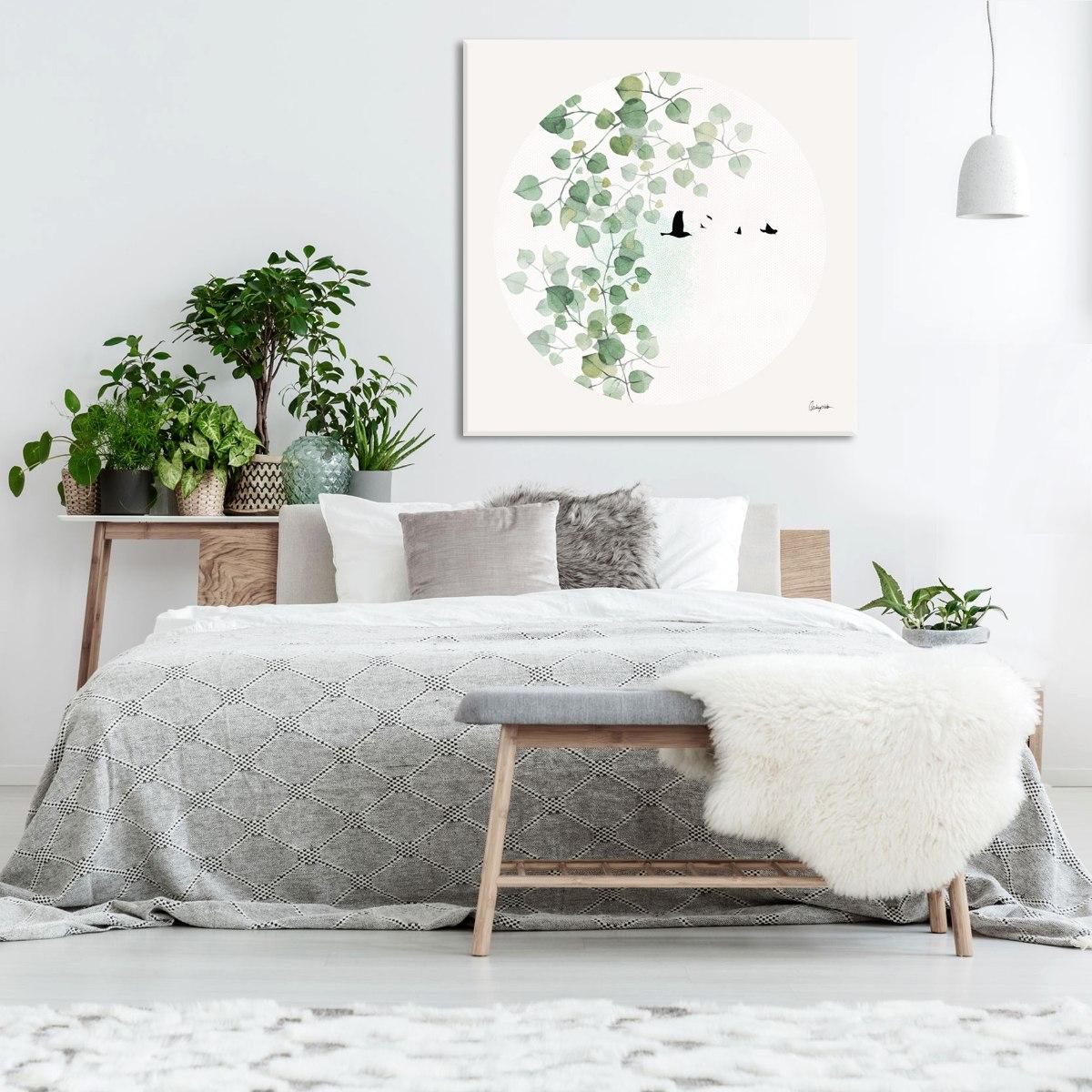 ציור נורדי עלים בחדר שינה