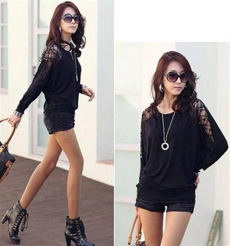 חולצת עטלף מעוצבת שרוול ארוך משולב תחרה