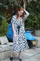 שמלת ג'ינגר שחור לבן