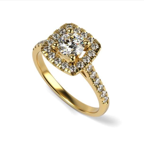 טבעת אירוסין יוקרתית זהב 14 קרט מרובעת מלאת נוכחות