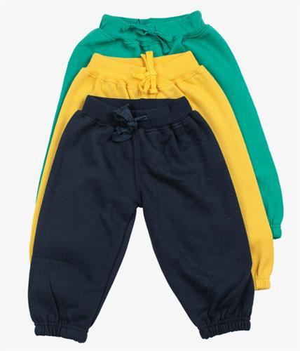 שלישיית מכנסי פוטר גומי ירוק-צהוב-כחול כהה