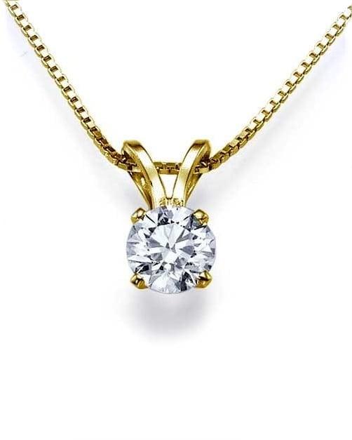 שרשרת יהלום עגול תליון יהלום שרשרת יהלום בסגנון סוליטר(בודד) 0.20 קראט בזהב 14 קאראט