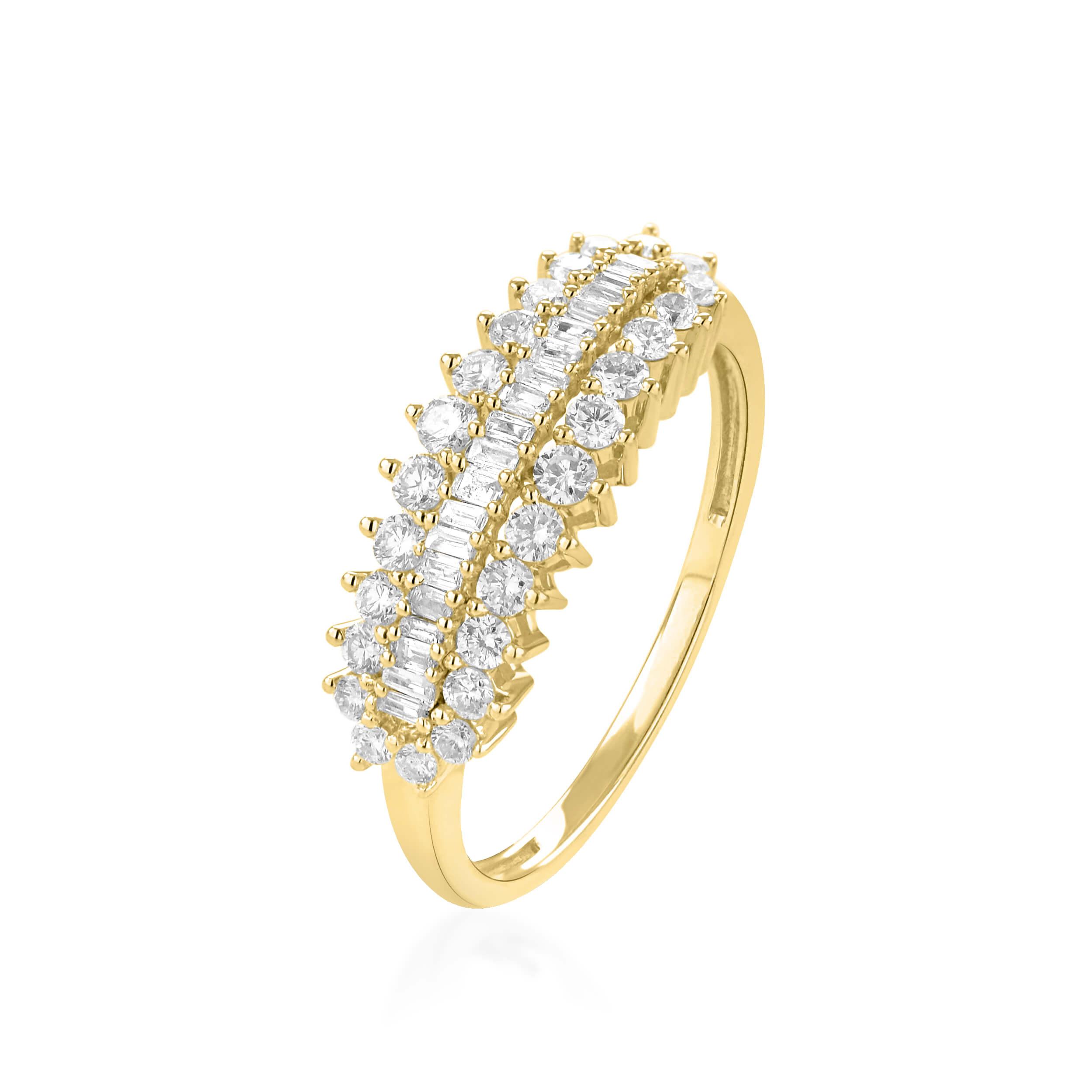 למעלה טבעת יהלומים זהב צהוב 14 קראט - טבעות יהלומים WQ-37