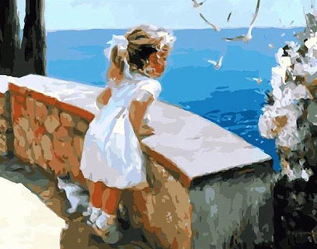 צביעה לפי מספרים - ילדה ושחפים