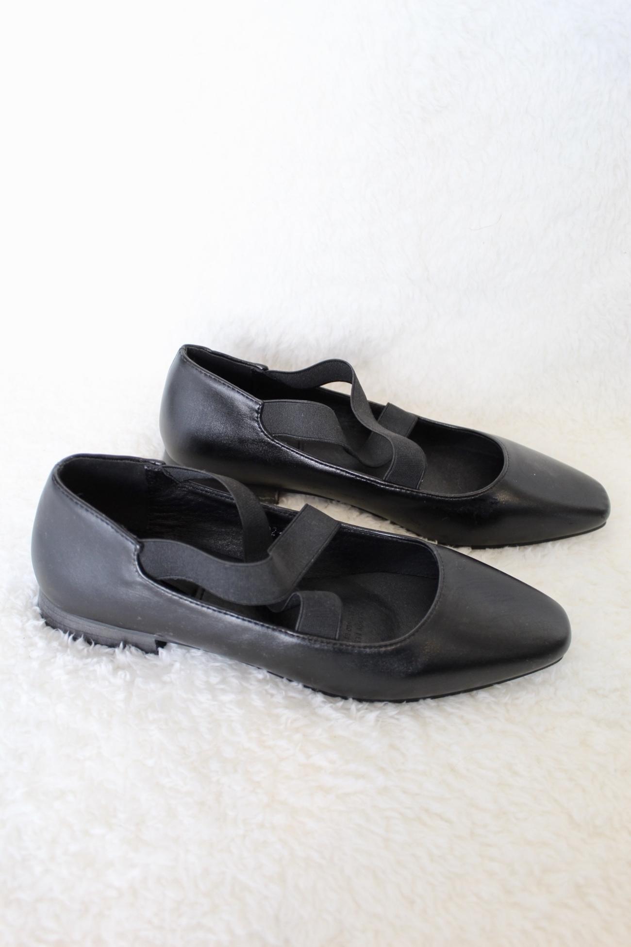 נעלי בלרינה עקב שחור