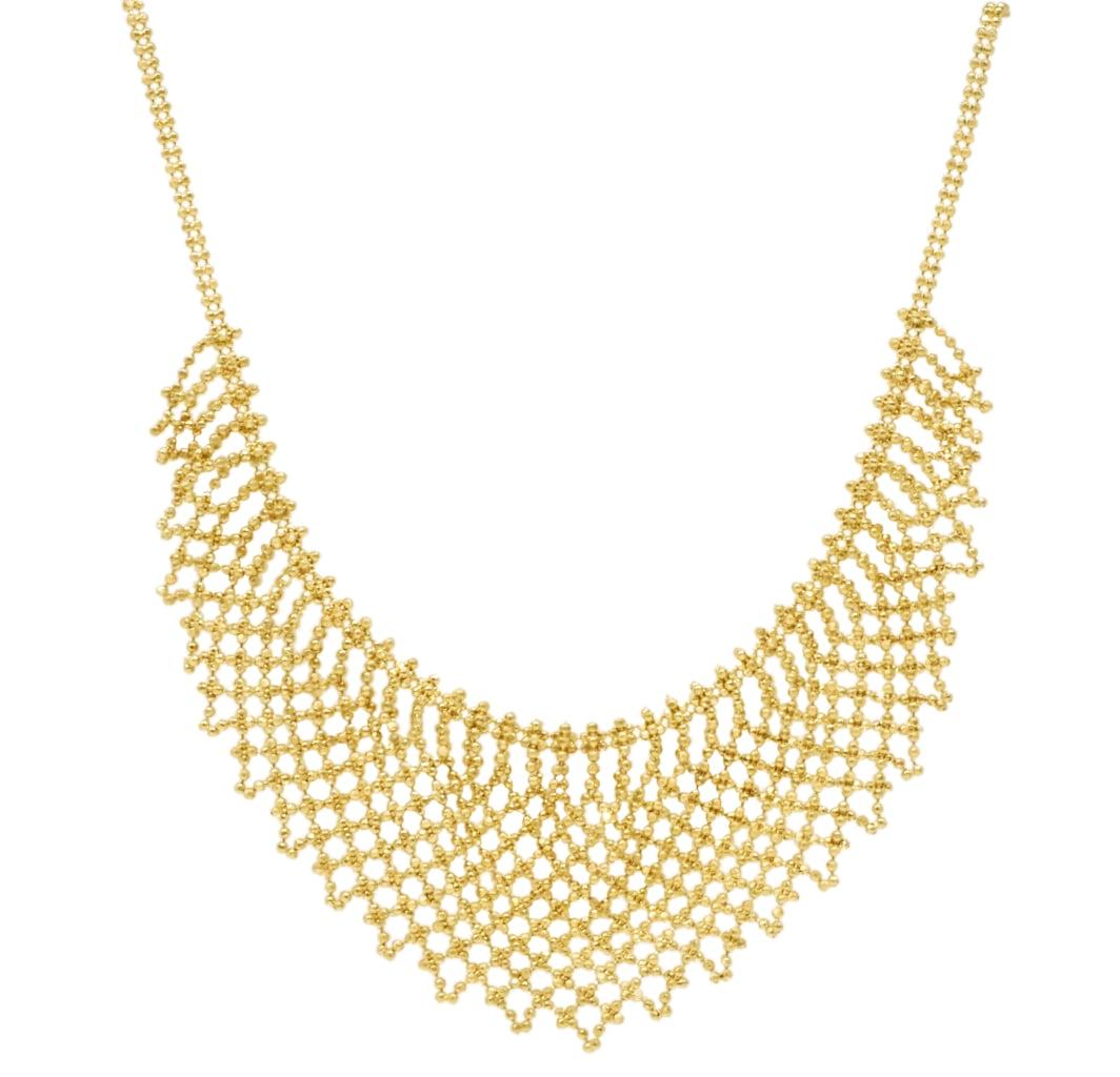 שרשרת כדורי זהב |שרשרת זהב קולייר לאישה| שרשרת זהב סרוגה| שרשרת זהב לאירוע