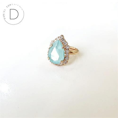 טבעת טיפה מיני - תכלת זהב