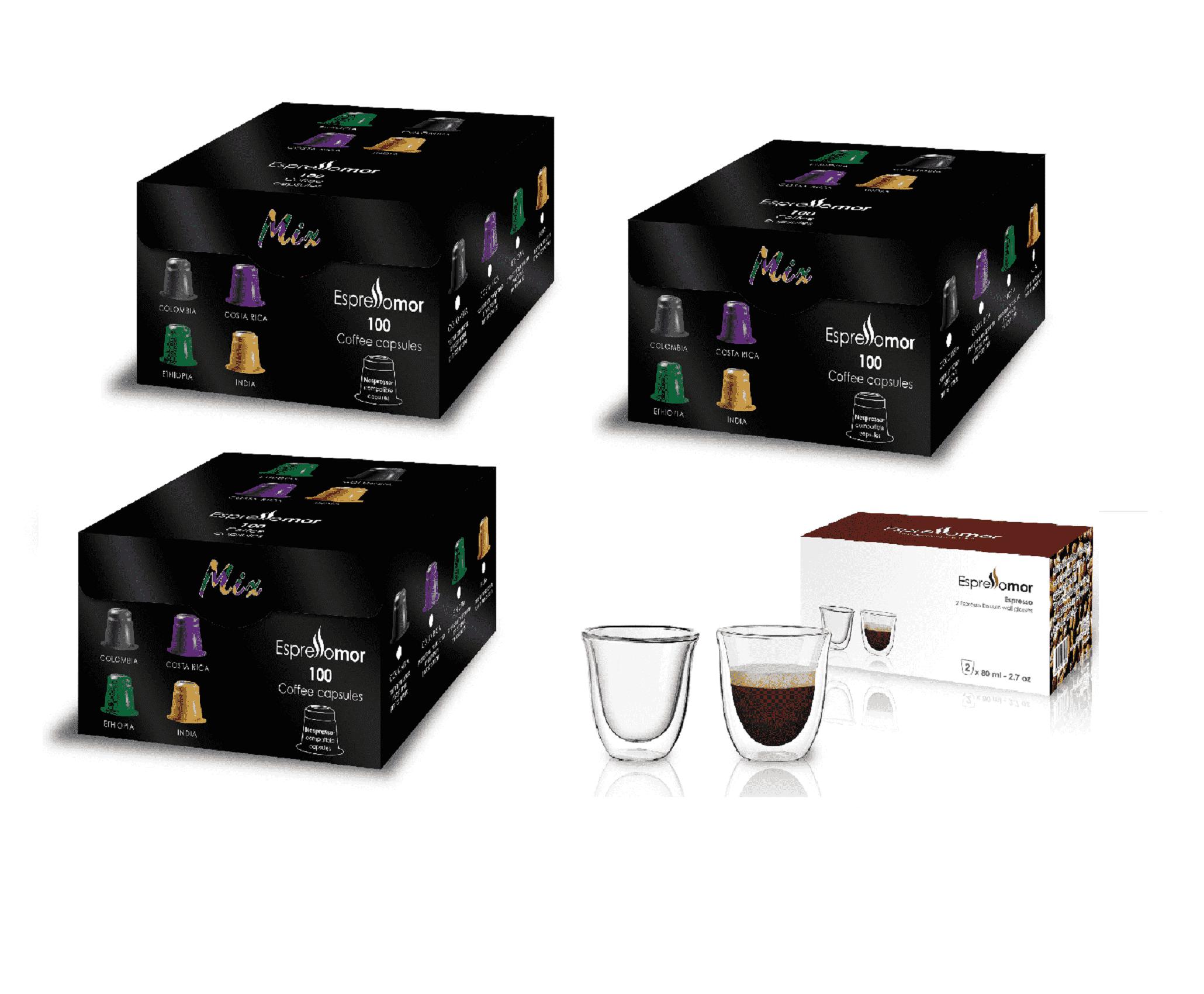 300 קפסולות למכונות Nespresso + זוג כוסות זכוכית דופן כפולה במתנה