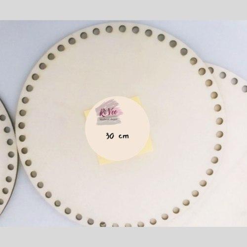 תחתית עץ  עגולה לסריגת סל/סלסלה, תחתית בסיס לסלסלה קוטר 30 סמ