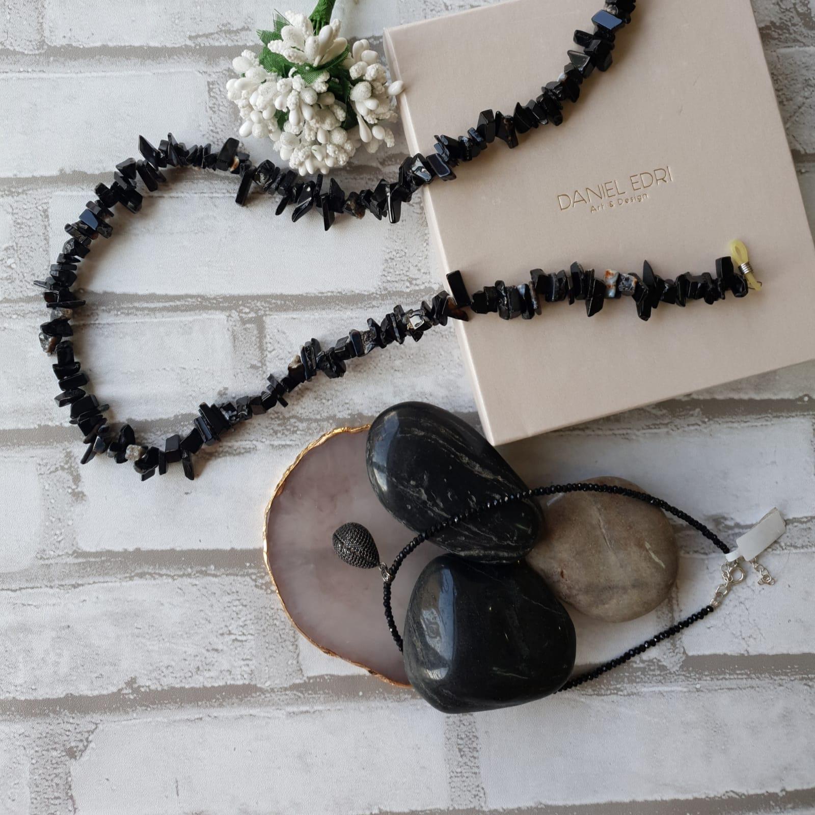 שרשרת למשקפיים - שחור שיש
