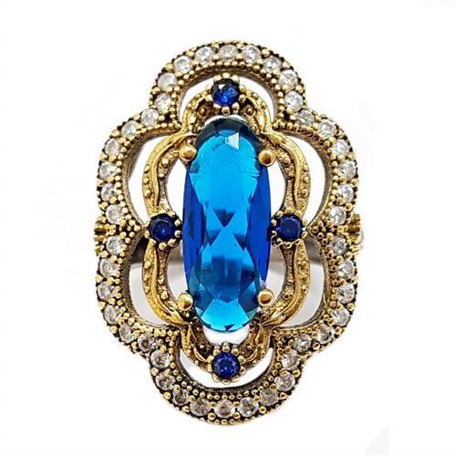 טבעת מכסף משובצת קוורץ כחול ואבני זרקון לבנות  RG5684   תכשיטי כסף 925   טבעות כסף