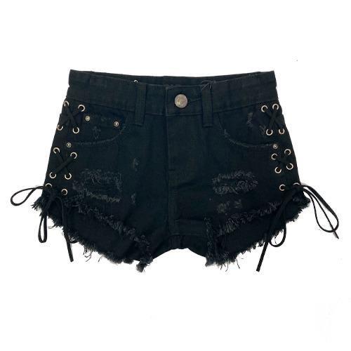 שורט ג׳ינס שחור קשירות ORO