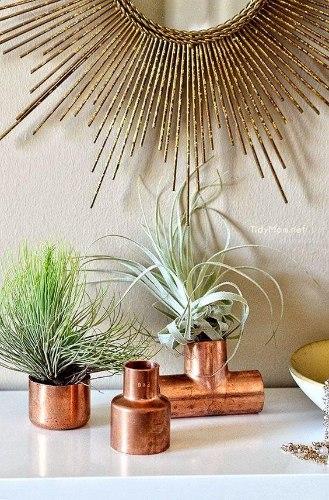 סט זוויות נחושת וצמחים