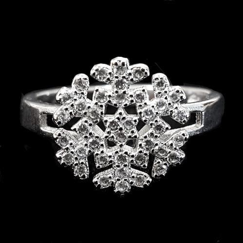 טבעת כסף פתית שלג משובצת זרקונים RG3335