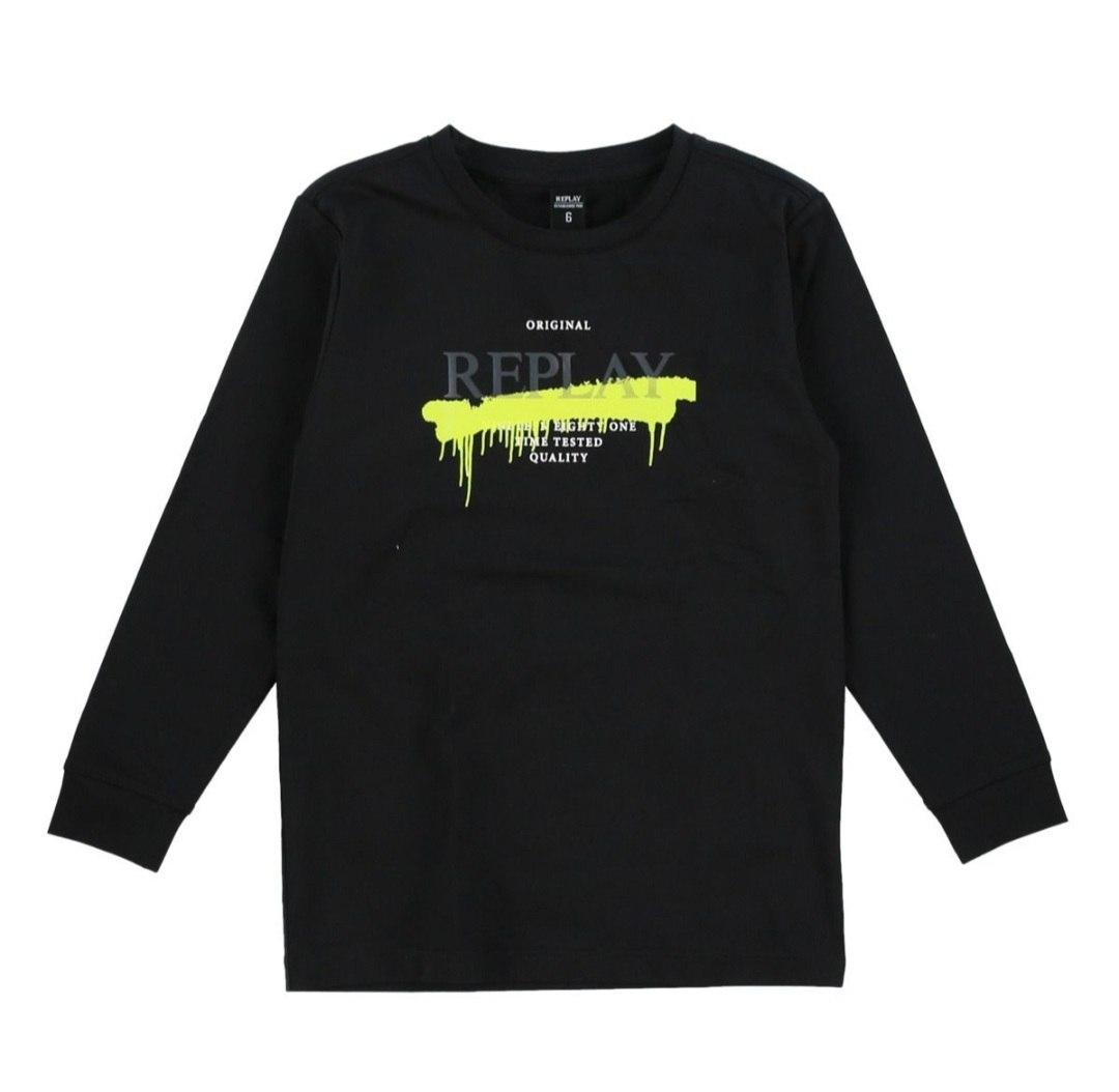 חולצת טישרט שחורה בשילוב ירוק  REPLAY