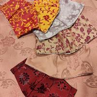 מסכת סאטן משי יפני - סגול לילך פרחוני