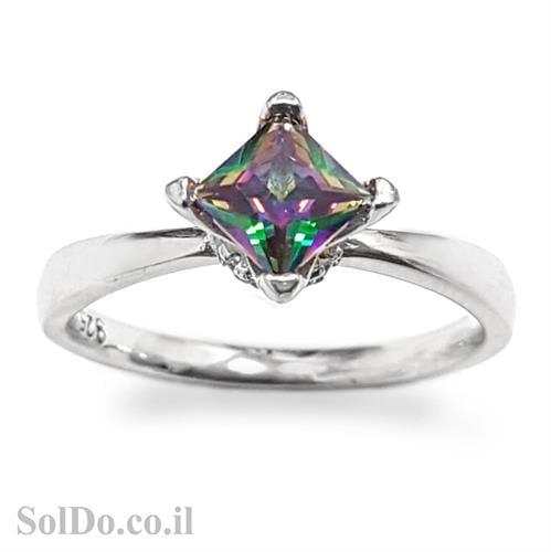 טבעת מכסף משובצת מיסטיק טופז  RG5974 | תכשיטי כסף 925 | טבעות כסף