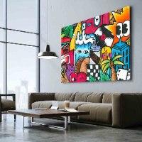 ציור קנבס צבעוני גדול לסלון של האמן כפיר תג'ר