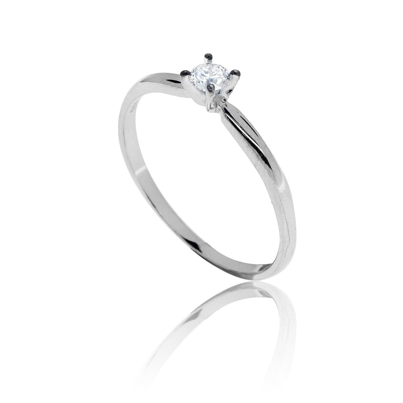 טבעת זהב לבן 14 קרט משובצת יהלומים 0.25 קראט