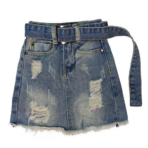 חצאית ג׳ינס עם חגורה - 2-16