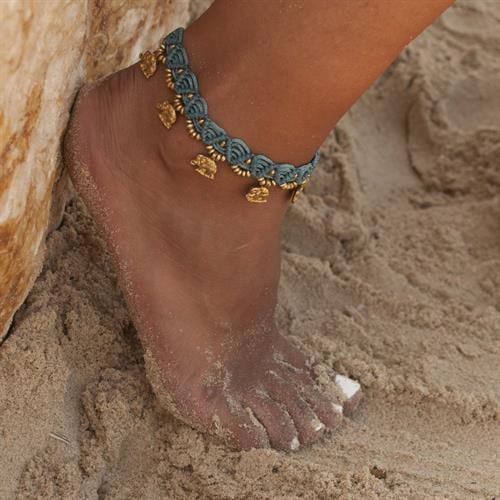 צמיד רגל מקרמה עבודת יד טורקיז פילים
