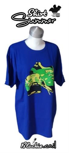 """חולצה לקיץ כחול נייבי הדפס גראפי """"דריכה""""👣"""