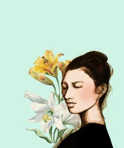 סאקי פרחונית -הדפס ציור