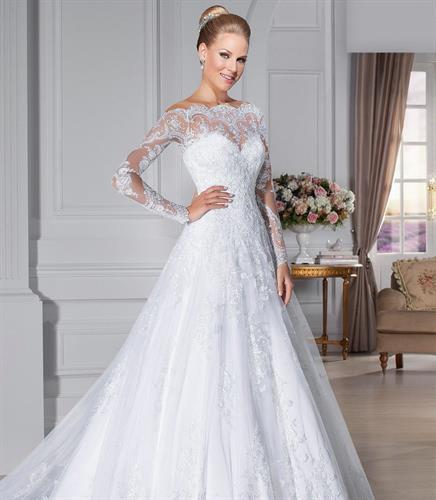 שמלת כלה מעוצבת גב שקוף שרוול ארוך משולבת תחרה בהזמנה אישית