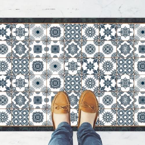 שטיח פי וי סי למטבח אריחי יוון כחולים| שטיח למטבח |שטיח פי וי סי | שטיח PVC | שטיחי פי וי סי מעוצבים